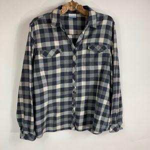 Columbia Grey Buffalo Check Flannel Shirt Sz 2X